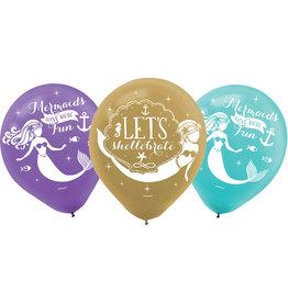 Amscan latex ballonnen Mermaid 6 stuks