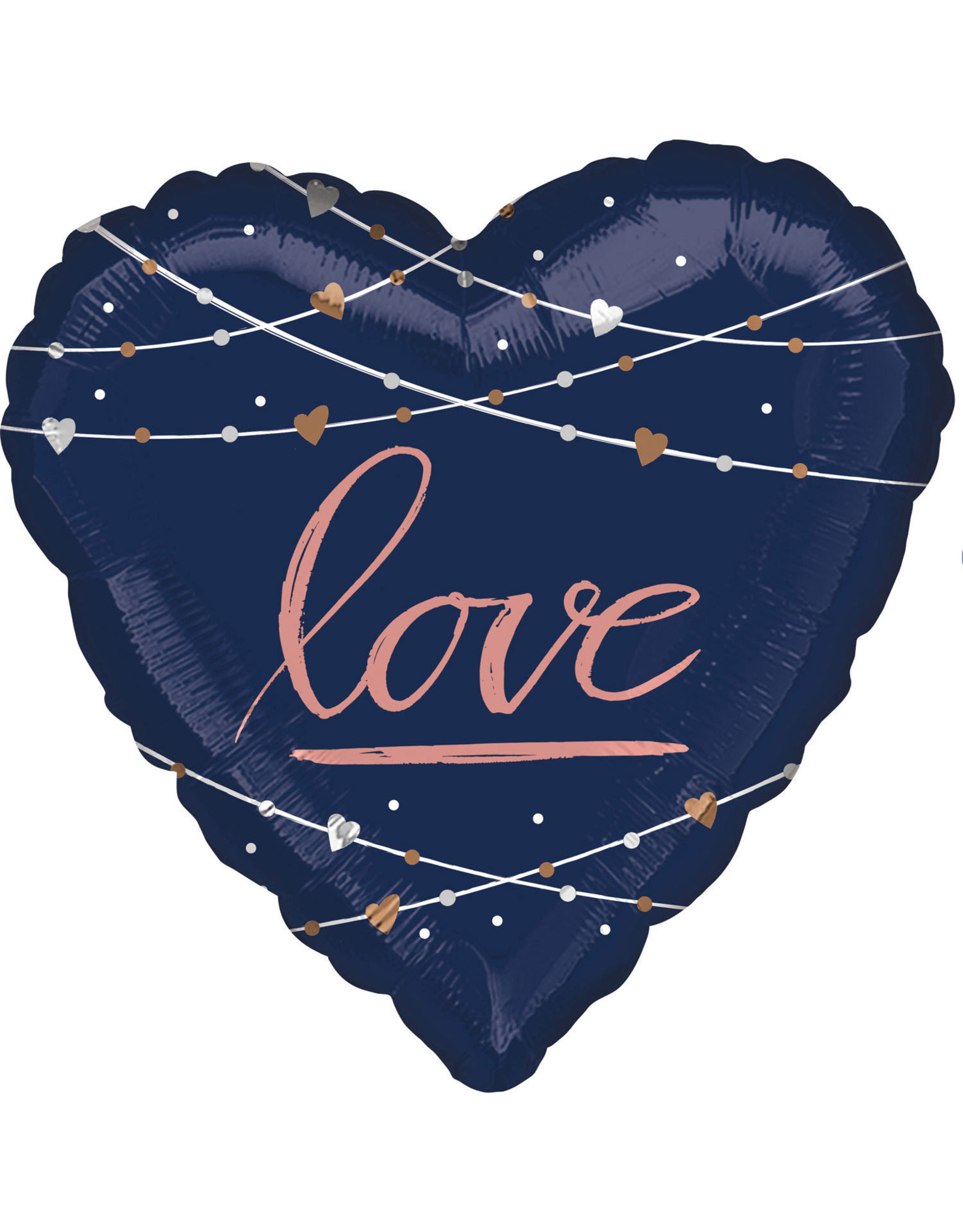 Amscan folieballon donkerblauw hart love 71 cm