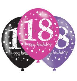 Amscan ballonnen 18 jaar mix roze 6 stuks