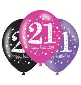 Amscan ballonnen 21 jaar mix roze 6 stuks