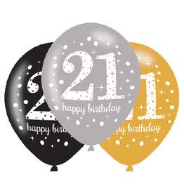 Amscan ballonnen 21 jaar mix zilver 6 stuks