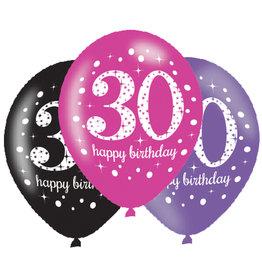 Amscan ballonnen 30 jaar mix roze 6 stuks