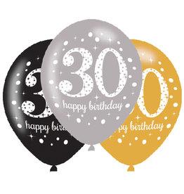 Amscan ballonnen 30 jaar mix zilver 6 stuks