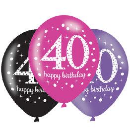 Amscan ballonnen 40 jaar mix roze 6 stuks