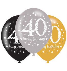 Amscan ballonnen 40 jaar mix zilver 6 stuks