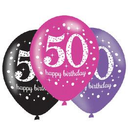 Amscan ballonnen 50 jaar mix roze 6 stuks