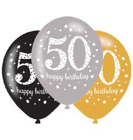 Amscan ballonnen 50 jaar mix zilver 6 stuks