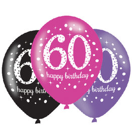 Amscan ballonnen 60 jaar mix roze 6 stuks