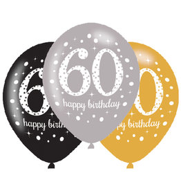 Amscan ballonnen 60 jaar mix zilver 6 stuks