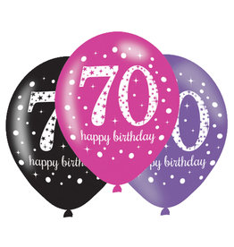 Amscan ballonnen 70 jaar mix roze 6 stuks