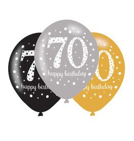 Amscan ballonnen 70 jaar mix zilver 6 stuks