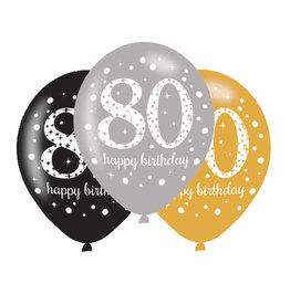 Amscan ballonnen 80 jaar mix zilver 6 stuks