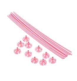 Ballon draagsticks baby roze 10 stuks