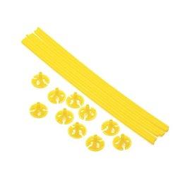 Ballon draagsticks geel 10 stuks