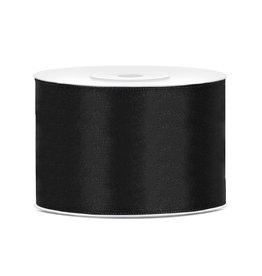 Satijn lint zwart 50 mm 25 meter
