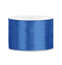 Satijn lint blauw 50 mm 25 meter
