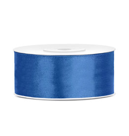 Satijn lint blauw 25 mm 25 meter