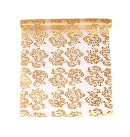Organza wit met sierlijke gouden opdruk