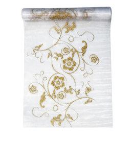 Organza wit met gouden ornamenten