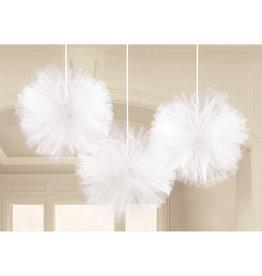 Tule fluffy pompoms wit 3 stuks