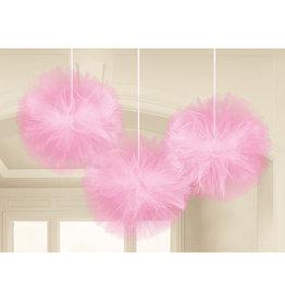 Tule fluffy  pompoms baby roze 3 stuks