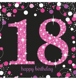 Amscan sparkling servetten 18 jaar zwart/roze