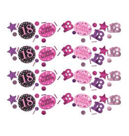 Amscan sparkling tafelconfetti 18 jaar roze