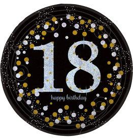 Amscan sparkling borden 18 jaar zwart zilver 8 stuks