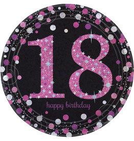 Amscan sparkling borden 18 jaar zwart roze 8 stuks