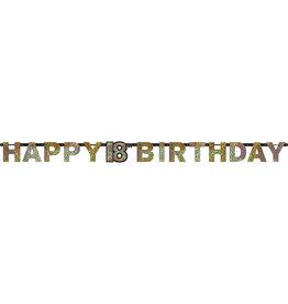 Amscan sparkling letterslinger 18 jaar goud zilver