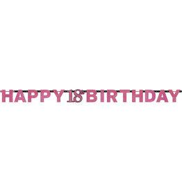 Amscan sparkling letterslinger 18 jaar zwart roze