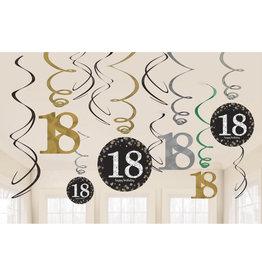 Amscan sparkling hangdecoratie 18 jaar zwart/zilver
