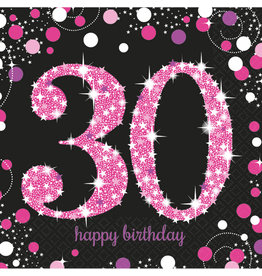 Amscan sparkling servetten 30 jaar zwart/roze