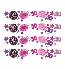Amscan sparkling tafelconfetti 30 jaar roze