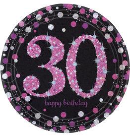 Amscan sparkling borden 30 jaar zwart/roze 8 stuks