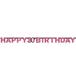 Amscan sparkling letterslinger 30 jaar zwart/roze