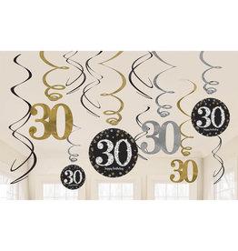 Amscan sparkling hangdecoratie 30 jaar zwart/zilver