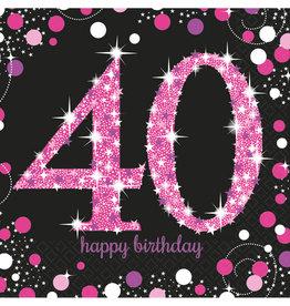 Amscan sparkling servetten 40 jaar zwart/roze