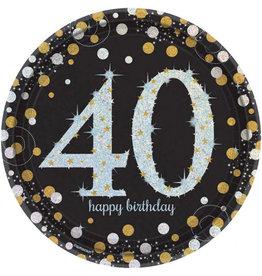 Amscan sparkling borden 40 jaar zwart zilver 8 stuks