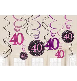 Amscan sparkling hangdecoratie 40 jaar zwart/roze