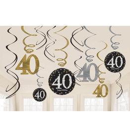Amscan sparkling hangdecoratie 40 jaar zwart zilver