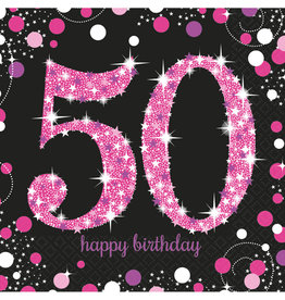 Amscan sparkling servetten 50 jaar zwart/roze