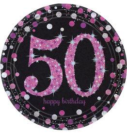 Amscan sparkling borden 50 jaar zwart/roze 8 stuks