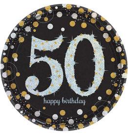 Amscan sparkling borden 50 jaar zwart zilver 8 stuks