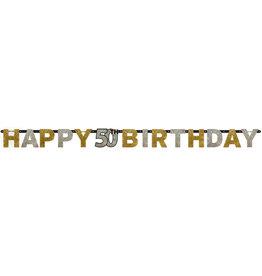 Amscan sparkling letterslinger 50 jaar goud zilver