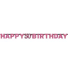 Amscan sparkling letterslinger 50 jaar zwart roze