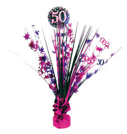 Amscan sparkling tafelstandaard 50 jaar roze