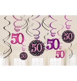 Amscan sparkling hangdecoratie 50 jaar zwart/roze