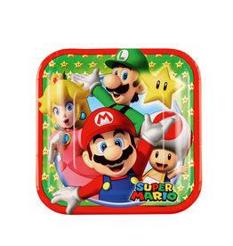 Super Mario kartonnen borden 18 cm 8 stuks