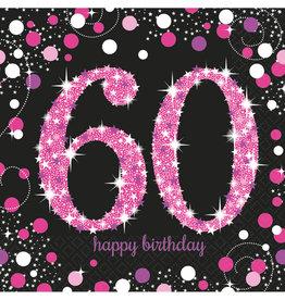 Amscan sparkling servetten 60 jaar zwart/roze